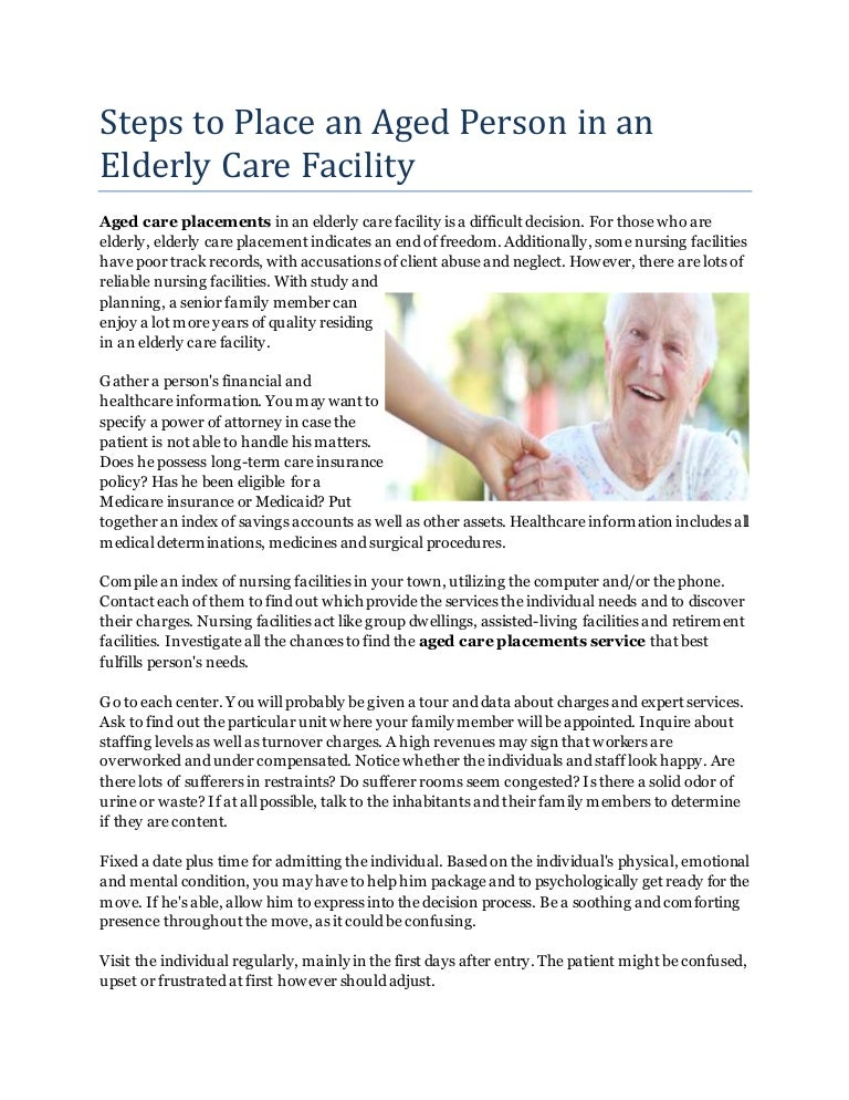 Steps To Place An Aged Person In An Elderly Care Facility