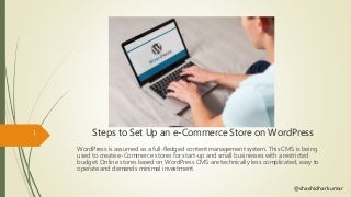 Steps to set up an e-commerce store in WordPress