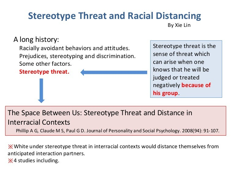 Stereotype threat and racial distancing