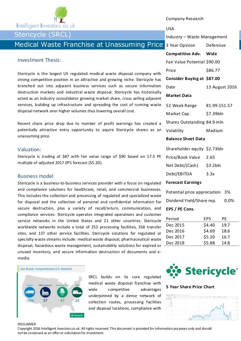 Stericycle (SRCL) - Waste management franchise at unassuming