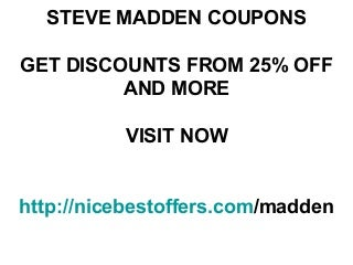 Steve madden coupons october 2012