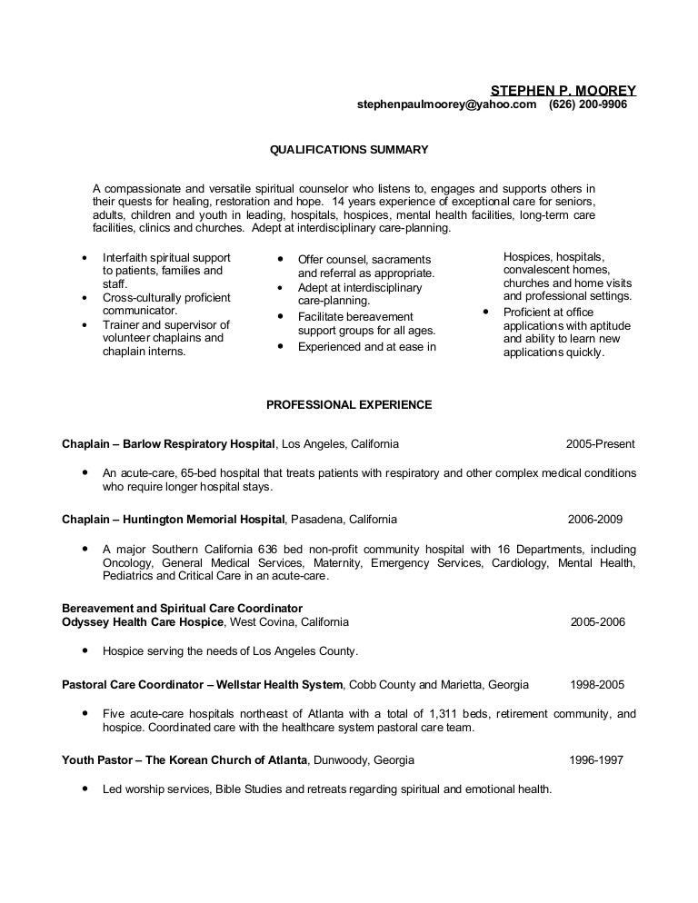 Steve Moorey resume – Hospice Resume