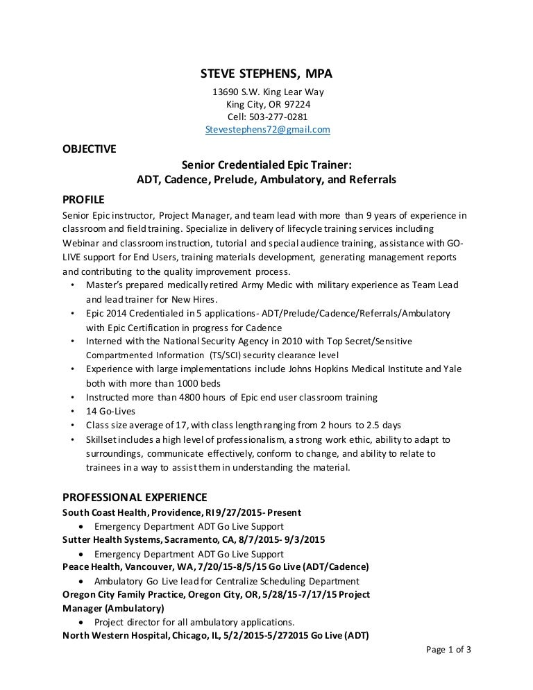 epic trainer resume cv cover letter