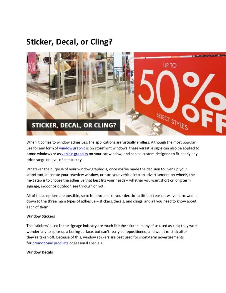 Sticker Decal Or Cling - Promotional products stickers and decals
