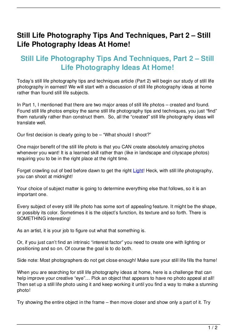 Still Life Photography Tips And Techniques, Part 2 – Still Life…