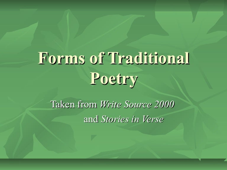 Traditional Forms Of Poetry