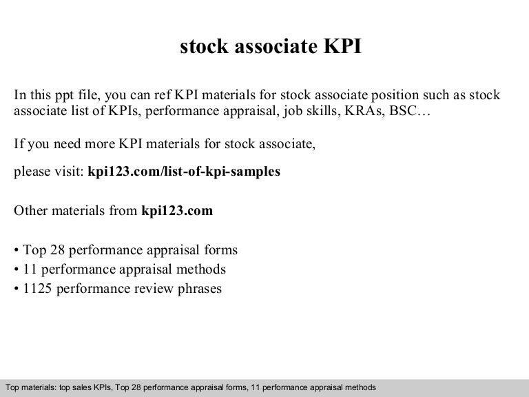 Stock associate kpi – Stock Associate Job Description