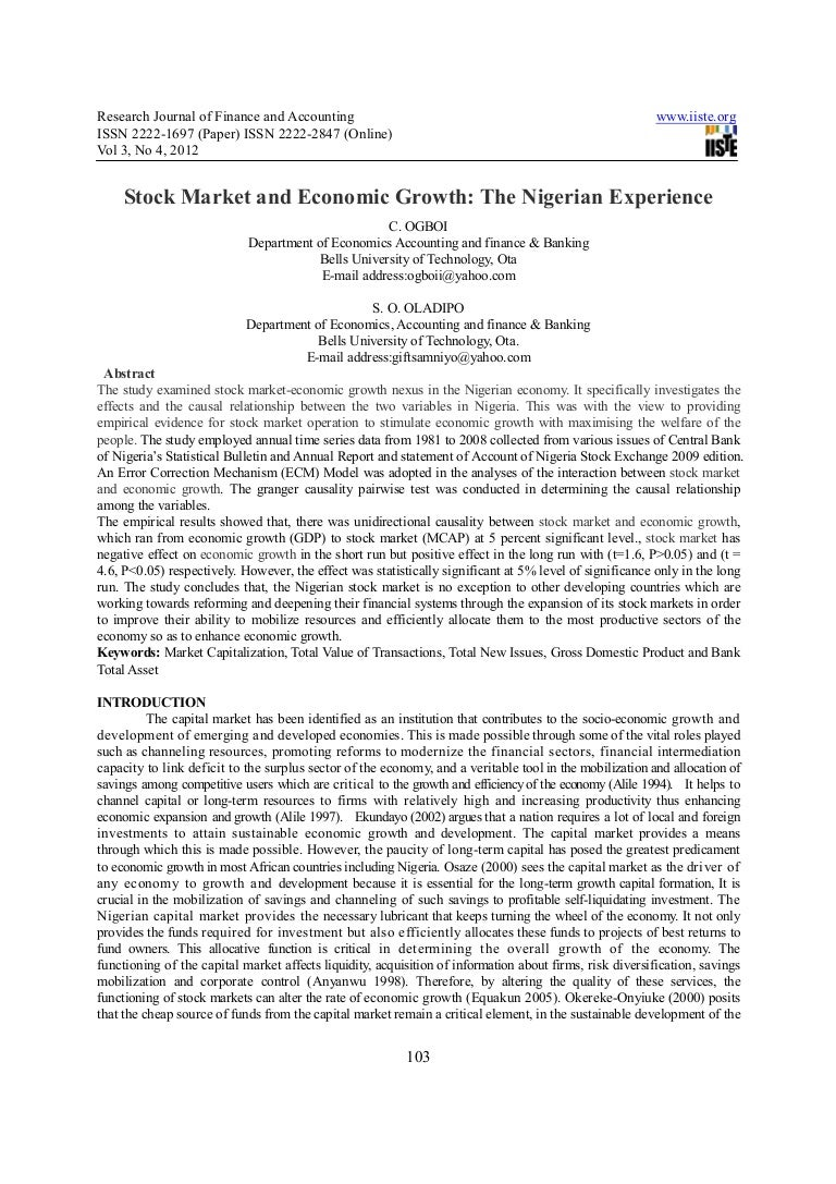 dissertation stock market economic growth Economic growth to banking sector and stock market development in zimbabwe the study further concludes that there is a unidirectional causal relationship running from stock market development.