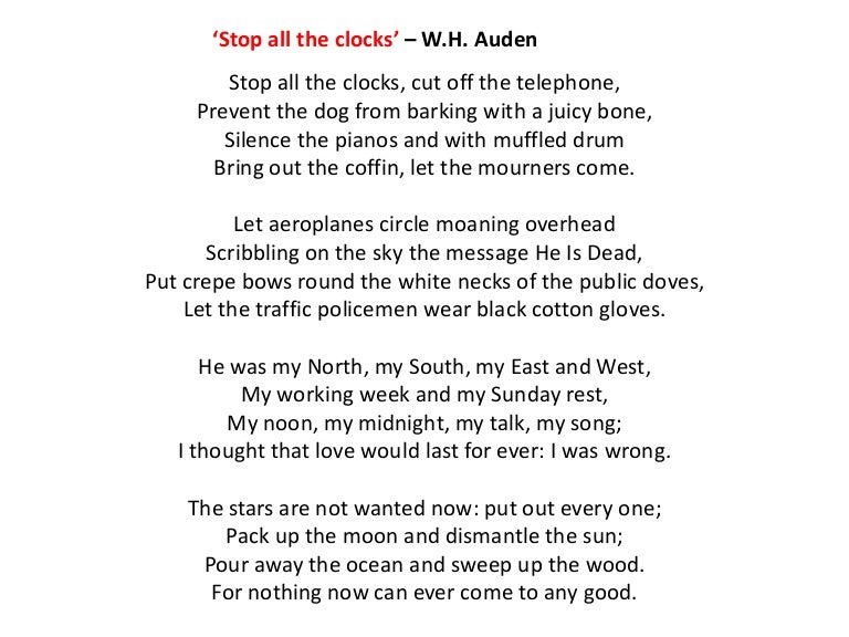 wh auden stop all the clocks