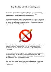 Stop smoking with electronic cigarette - Quit Smoking Now