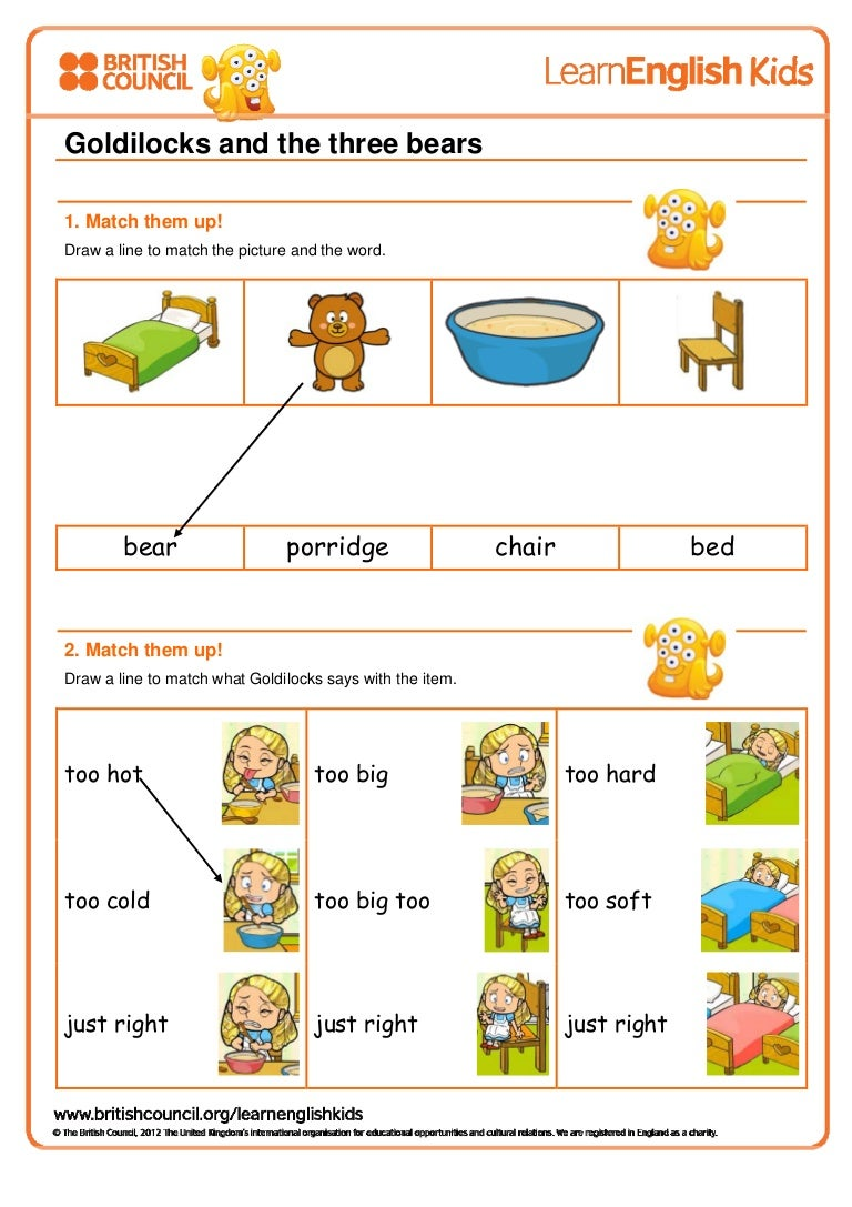 goldilocks and the three bears (worksheet)