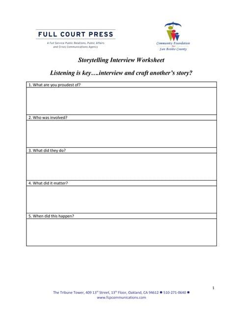 Storytelling - Interview Worksheet