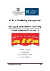 Marketing Strategic Analysis: Alfa Pastry SA case study