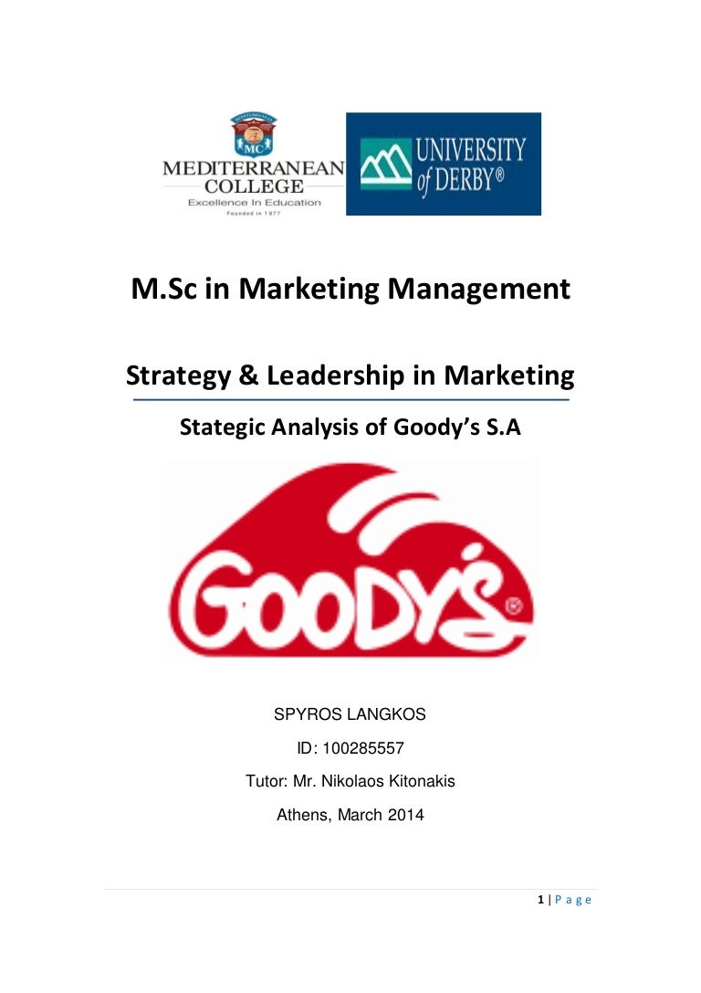 marketing strategic analysis goody s sa case study