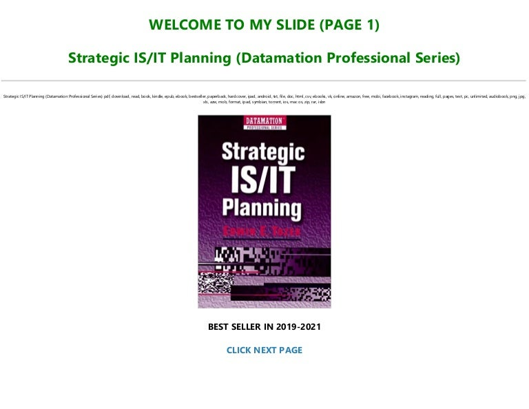 Free [P.D.F Download] Strategic IS/IT Planning (Datamation Professional Series) [Full]