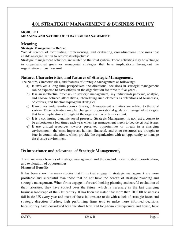 Strategic Management & Business Policy