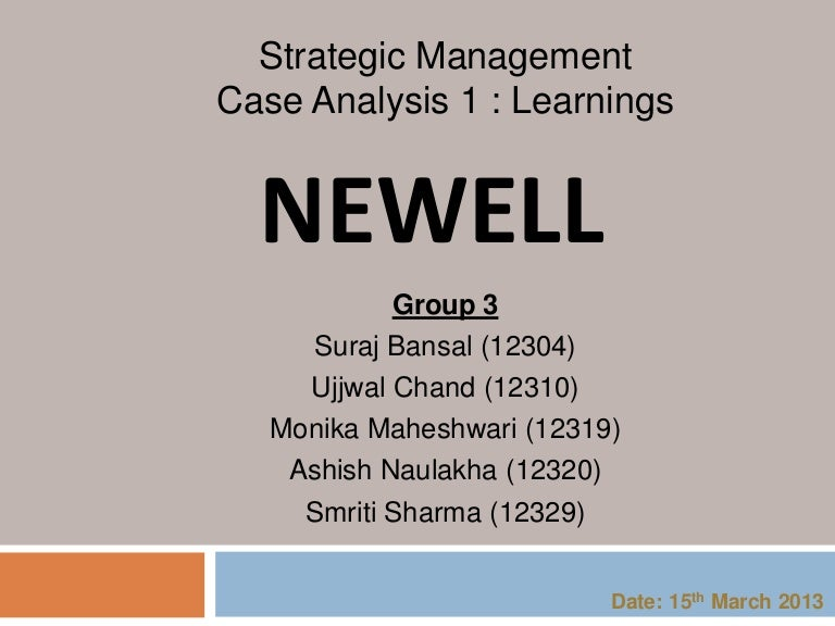 newell company corporate strategy case solution