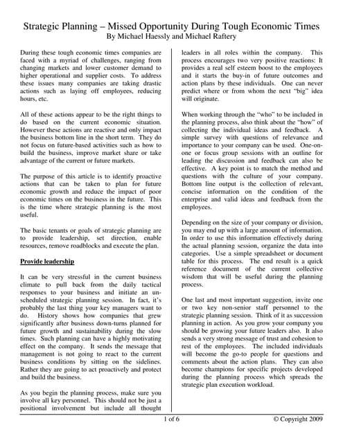 Strategic Planning Paper 7 2009