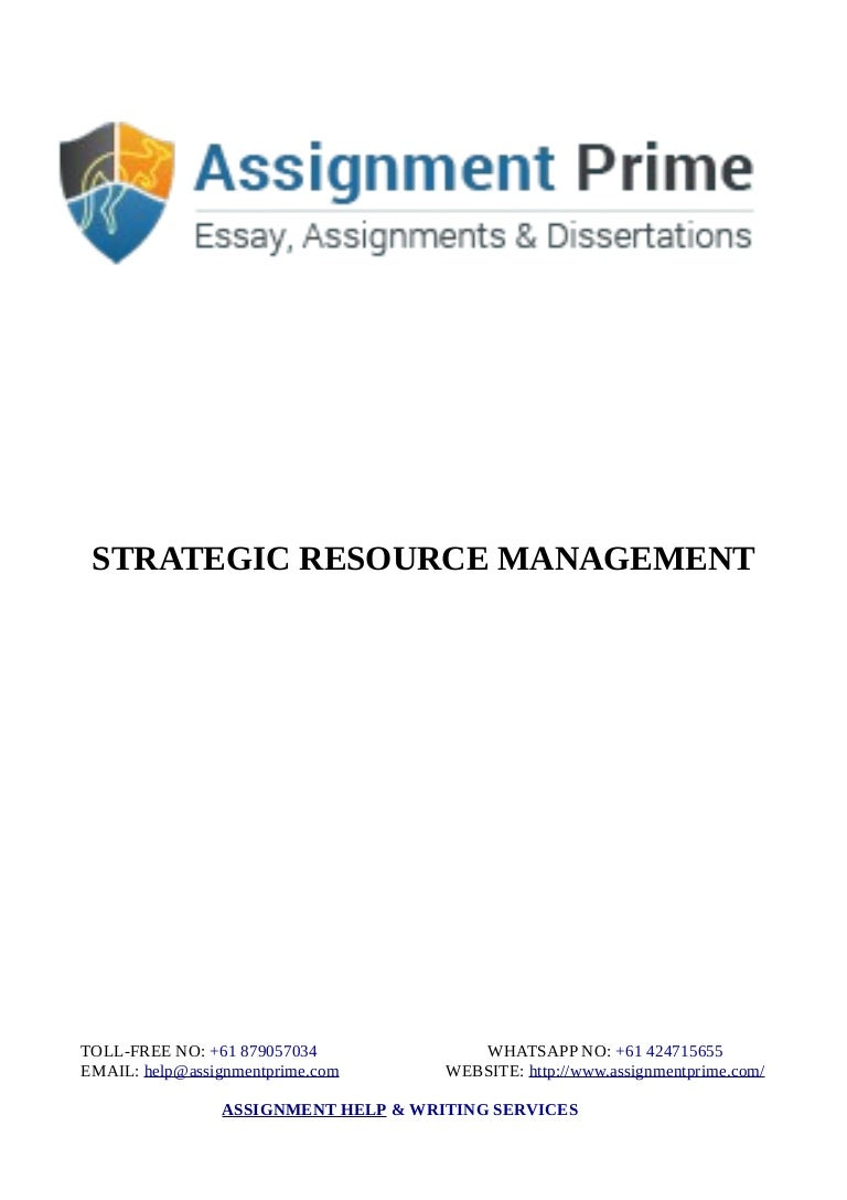 strategic resource management sample assignment