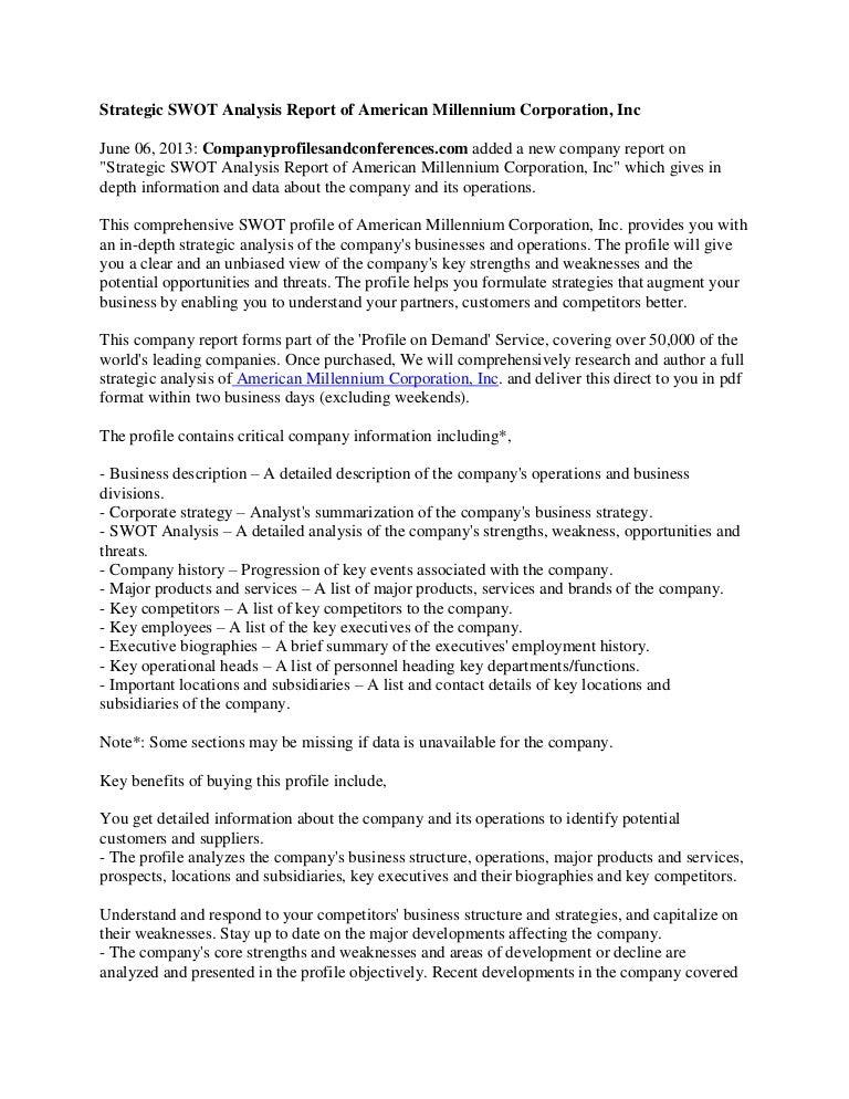 Strategic Swot Analysis Report Of American Millennium Corporation Inc