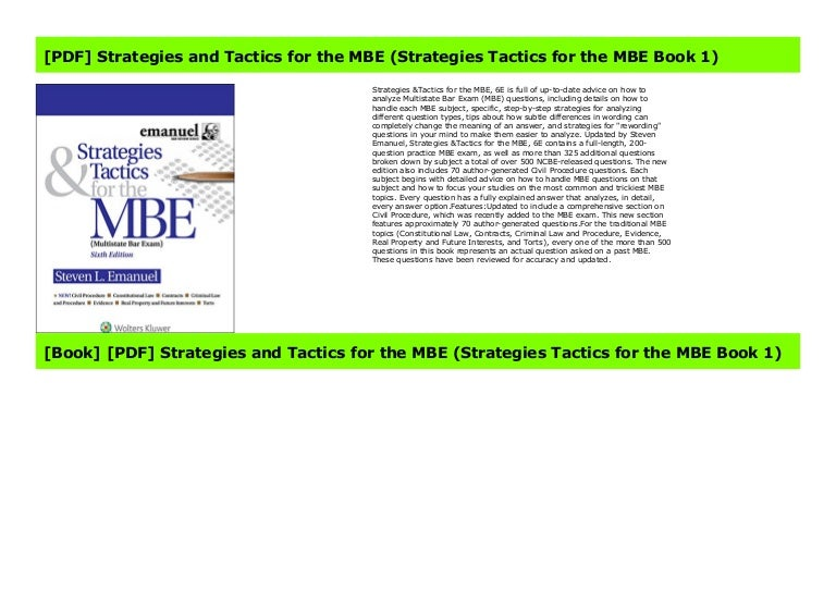 Pdf Strategies And Tactics For The Mbe Strategies Tactics For Th