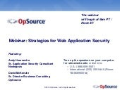 Strategies for Web Application Security