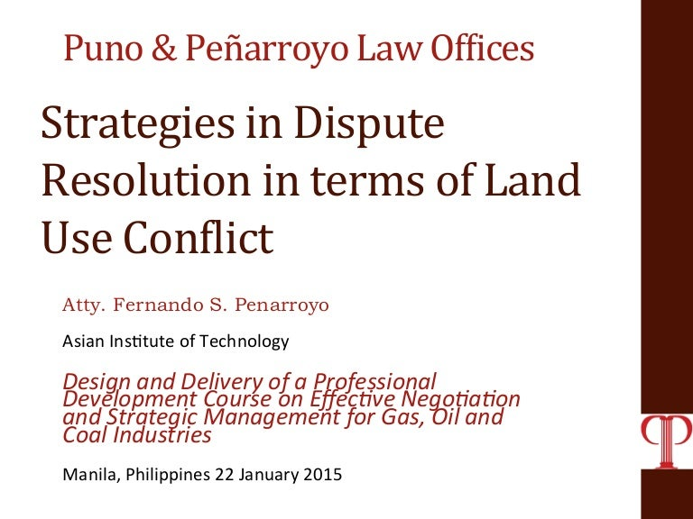 Strategies in Dispute Resolution in Land Use Conflict