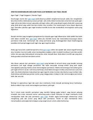 Strategi kemenangan dari agen togel saat bermain judi togel online