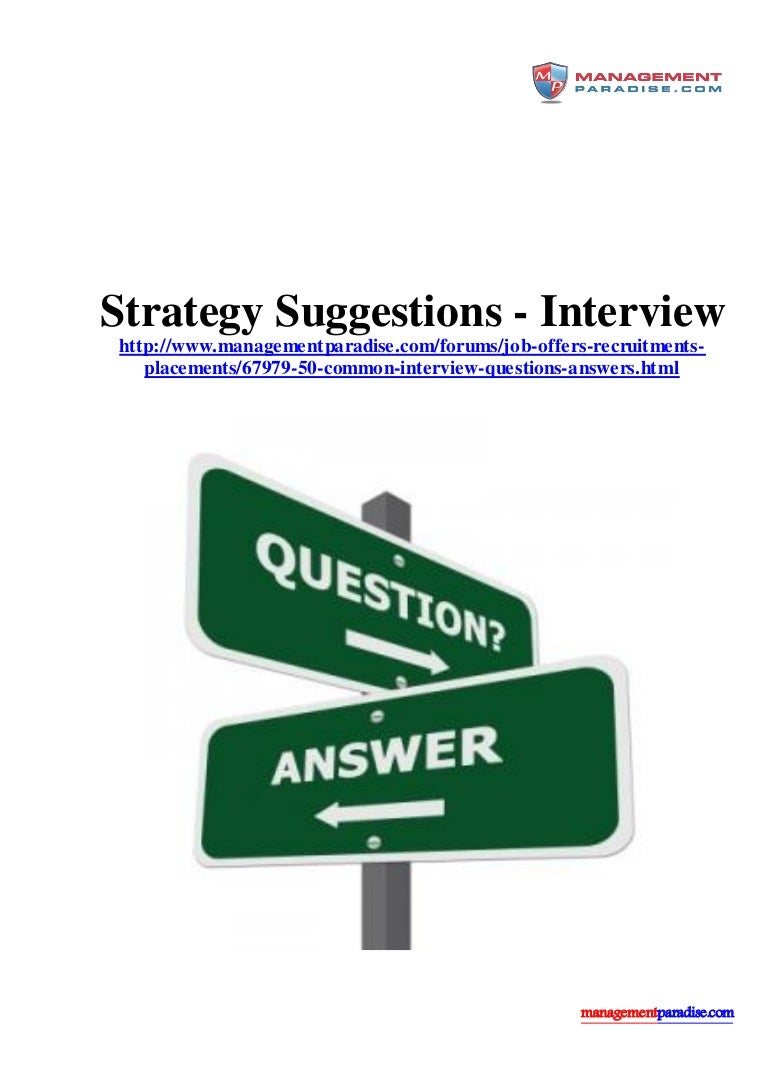 strategy suggestions interview