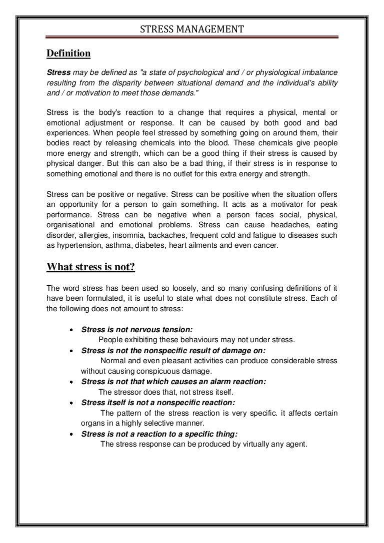 short essay about stress