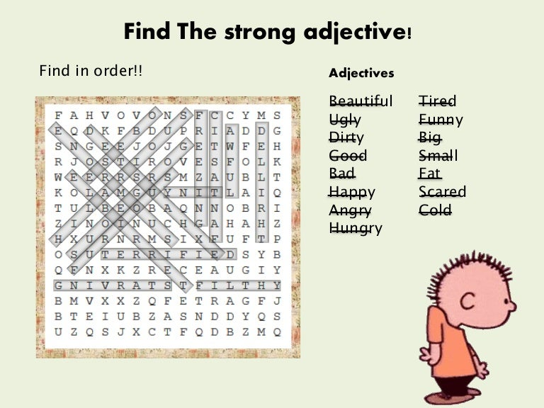 strong adjectives crossword