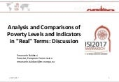 """Analysis and Comparisons of Poverty Levels and Indicators in """"Real"""" Terms: Discussion"""