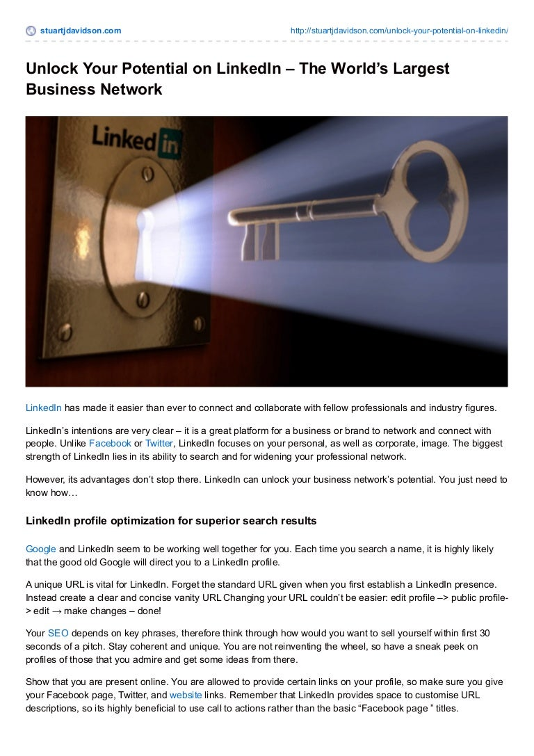 UNLOCK YOUR POTENTIAL ON LINKEDIN – THE WORLD'S LARGEST BUSINESS NETW…