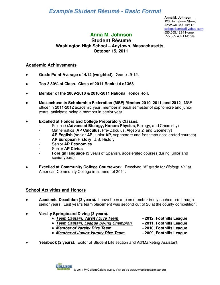 sample student cv scholarship resume template teamtractemplates - High School Resume Examples For College Admission