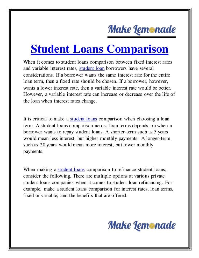 Refinance Student Loans >> Student Loans Comparison