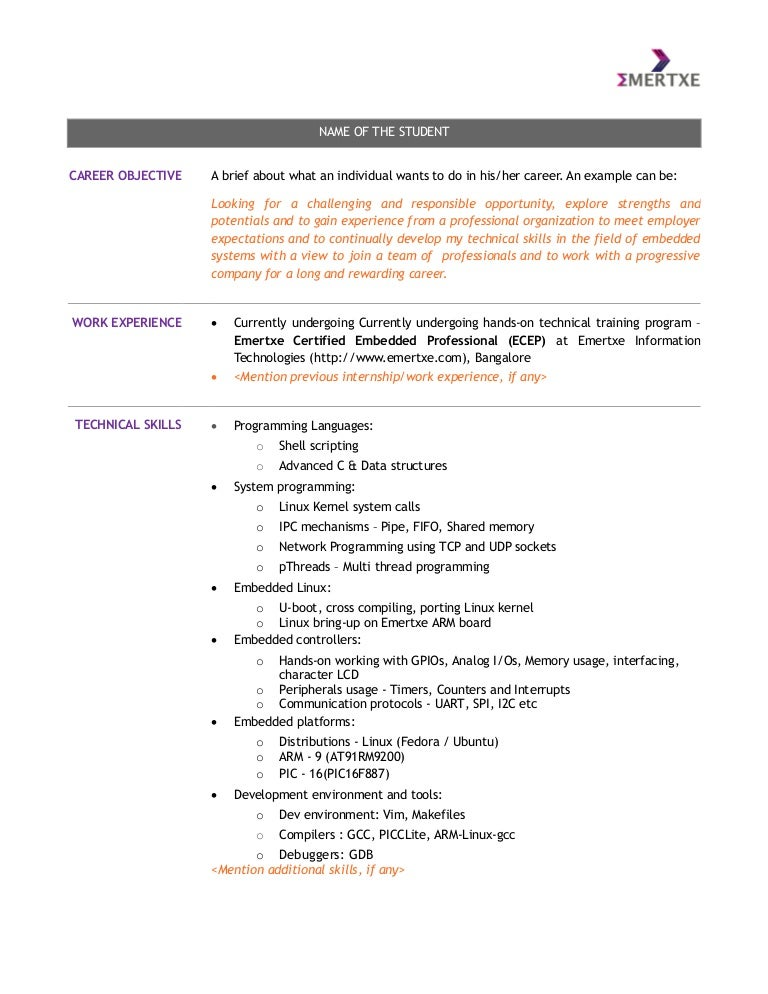 Embedded systems course - student resume template