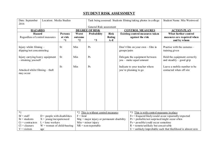 Student Risk Assessment Form