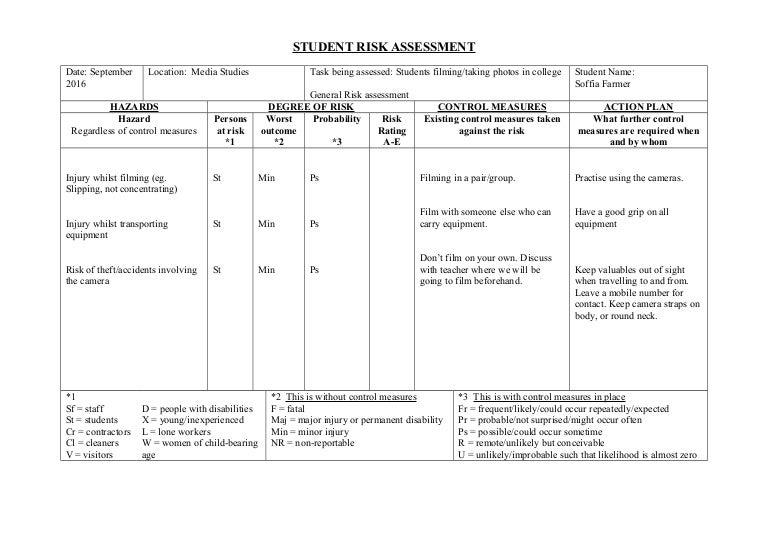 Student Risk Assessmentform 3