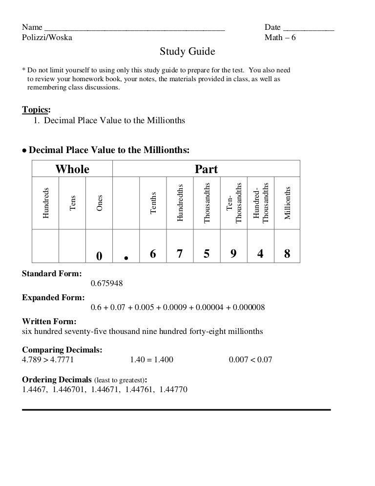 Study Guide Decimal Place Value