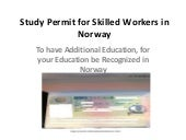 Study Permit for Skilled Workers in Norway