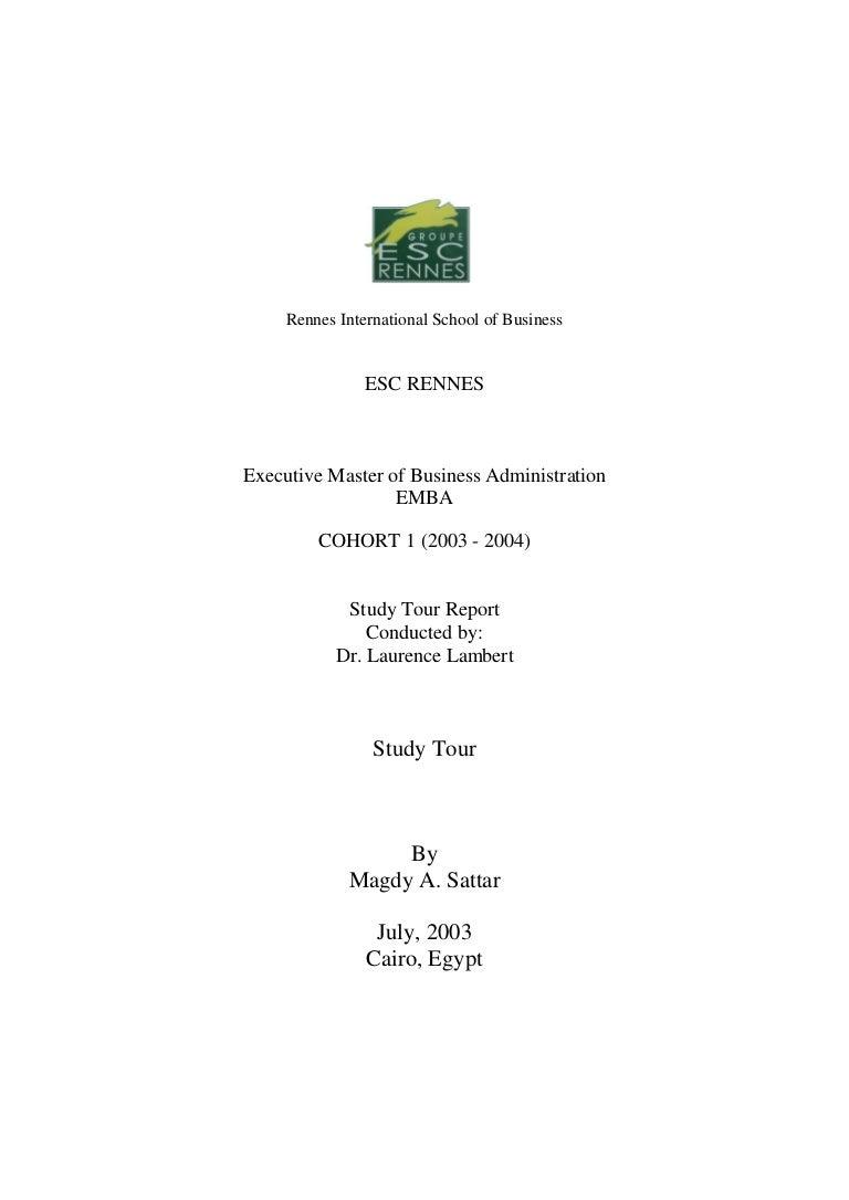 Study tour report – Business Tour Report Format