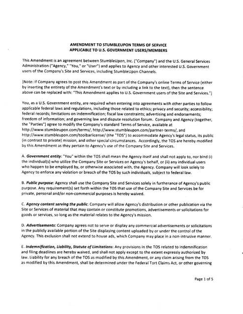 StumbleUpon Terms of Service (TOS) Amendment