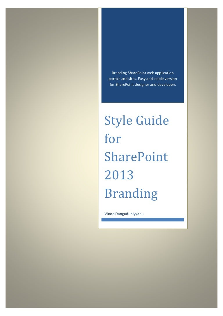 Style Guide For Share Point 2013 Branding