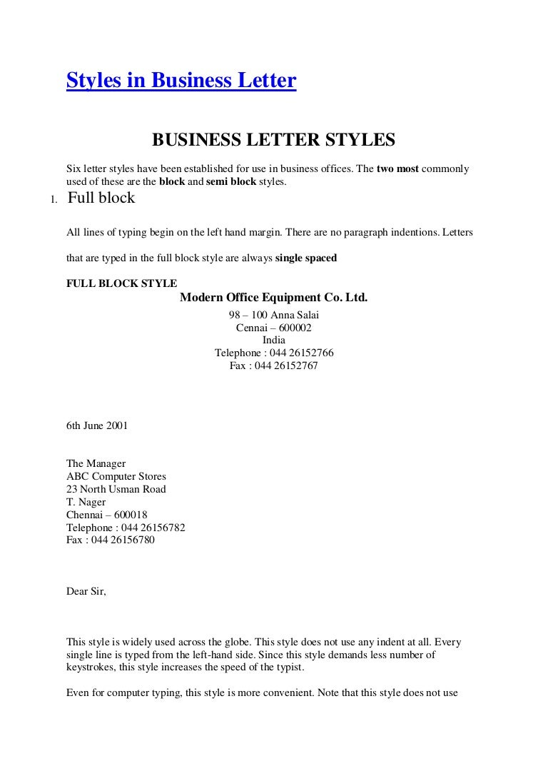 Application Letter In Semi Block Style Example