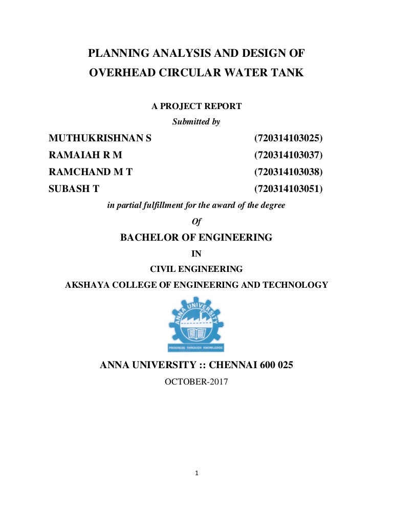 Planning analysis design the overhead circular water tank in seerapal…