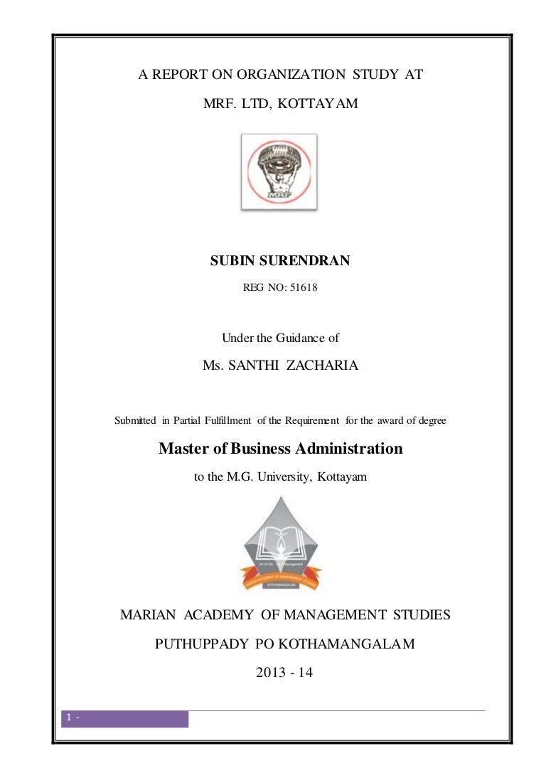 A report on organization study at mrf ltd kottayam by subin surendr xflitez Images