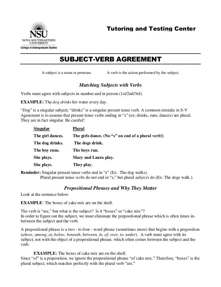 Subject verbagreement – Subject Verb Agreement Worksheet 4th Grade