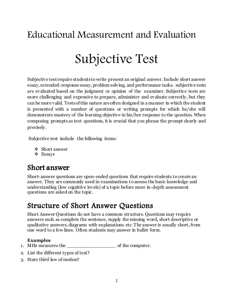short answer essay format