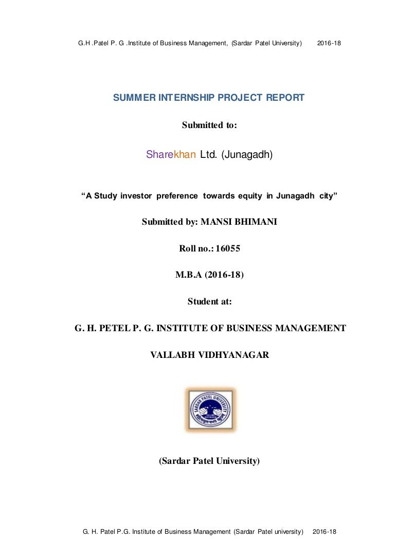 summer internship project at sharekhan ltd report on 'a study on inv…