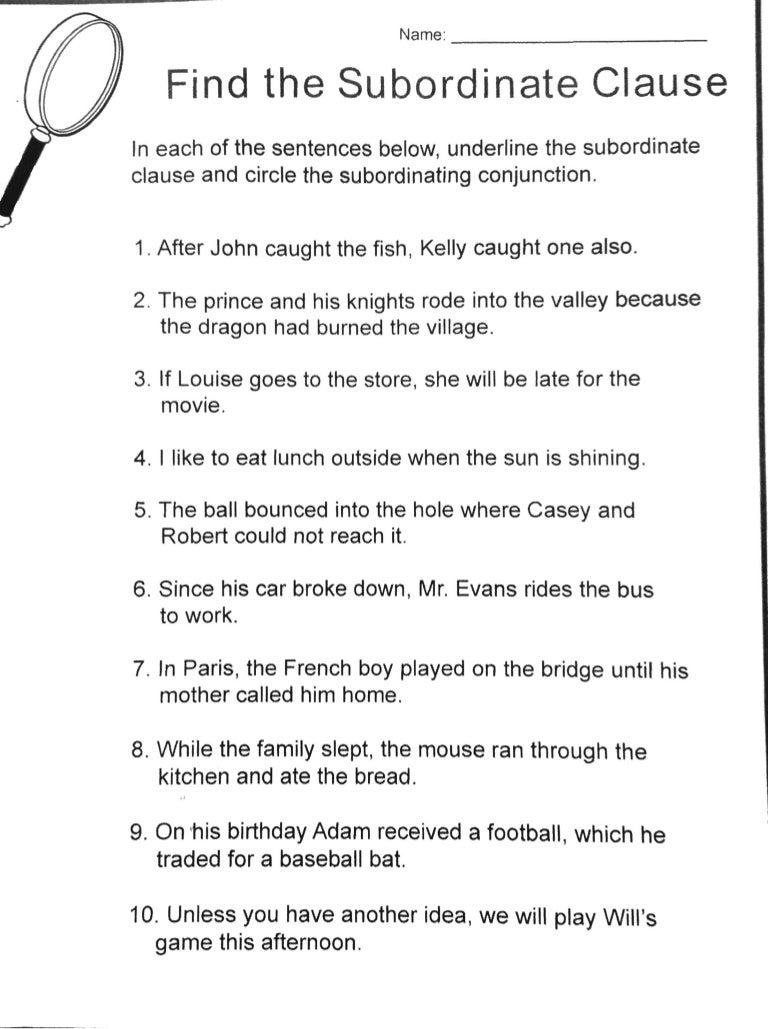 worksheet Dependent And Independent Clauses Worksheets subordinate dependent clause practice